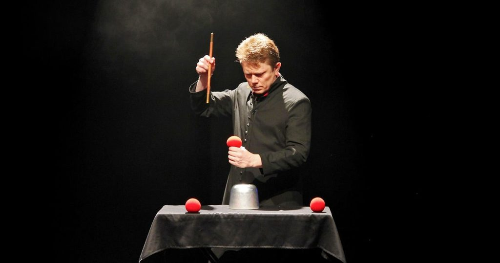 Tom Stone does magic with red balls